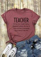 Women T-Shirt Teacher Letter Print t shirt O-Neck Short Sleeve T-Shirt 2018 Female Casual Cameo Red Tops Tee Ladies t shirt