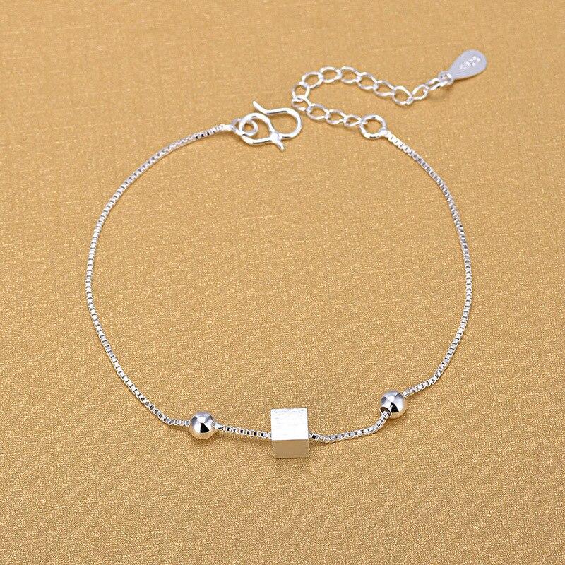 Купить браслеты цепочки из серебра 925 пробы модные квадратные браслеты