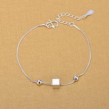 Браслеты цепочки из серебра 925 пробы модные квадратные браслеты