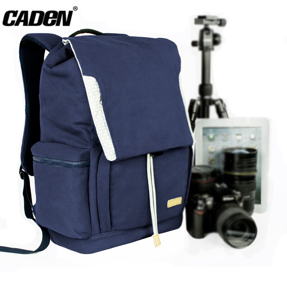 CADeN M6 Camera Backpack Photo Digital Photography DSLR Camera Bags Waterproof Canvas Dark Blue Bag for Canon Nikon Sony DSLR