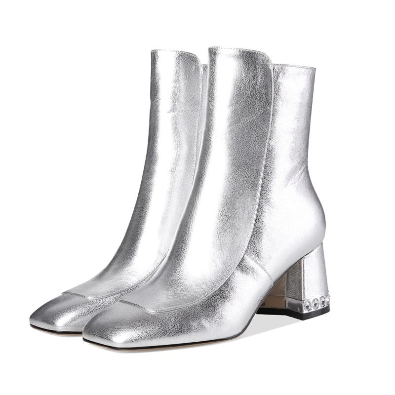 Furtado Chaussures Bout Soirée Arden 40 silver Sur Cristal Black Glissent Carré Dames 2018 Printemps Argent Automne Chunky Talons Cheville De Bottes 41 d0qO0xwz