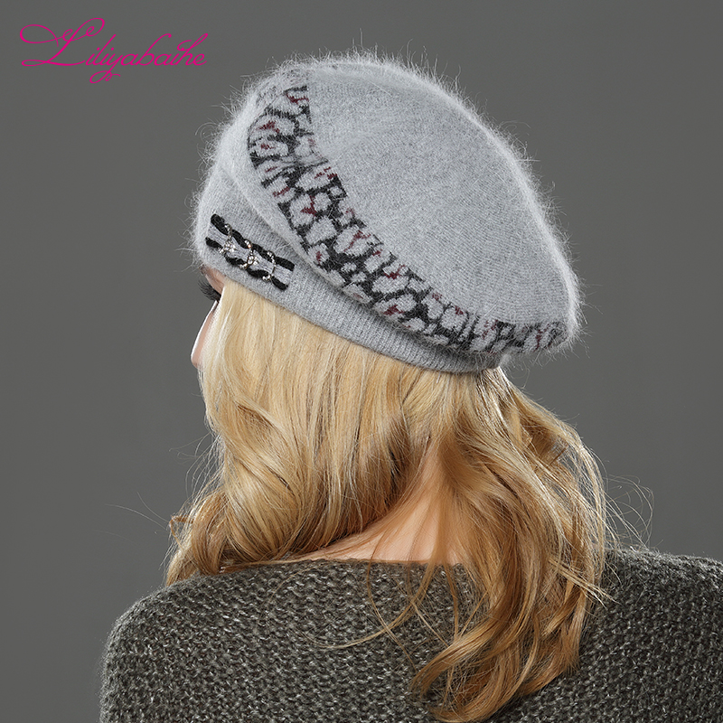 Image 5 - LILIYABAIHE  NEW Style Women winter beret hat knitted wool angora beret  Sttriped Beautifully  decoration cap Double warm hat-in Women's Berets from Apparel Accessories