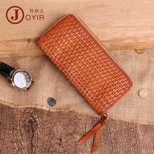 e92186e59 Joyir Men Genuine Leather Long Wallet High Quality Wallets Vintage Business  hand knitting Cow Leather Fashion Male Purse