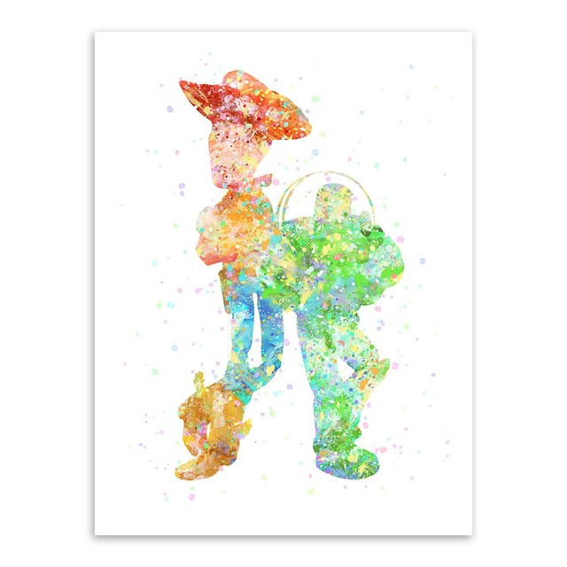 original watercolor toy story large movie poster prints anime picture canvas painting halloween gifts kids room