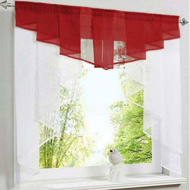 new fashion pleated design stitching colors tulle balcony kitchen window curtains gauze small coffee curtain dl033 30