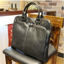 New high quality pu leather Shoulder leisure men's bag business messenger portable briefcase Laptop large Purse 14″ Handbag