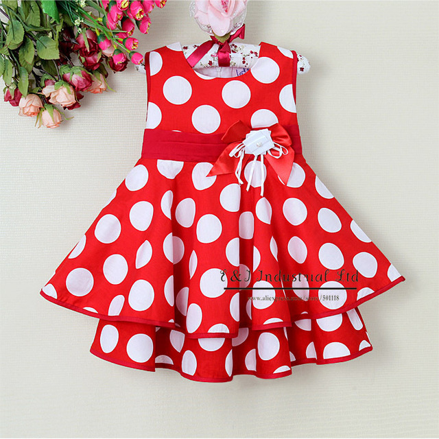 2014 Brand Toddlers Dress White And Red Dot Girl Princess Dress Wedding Costumes Children Summer Dress 6PCS/LOT GD21008-12^^EI