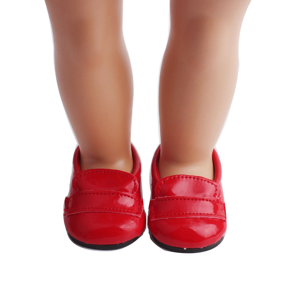 Dolls & Stuffed Toys Doll Shoes Fashion Doll Red Leather Shoe 18 Inch Girl Dolls And 43 Cm Baby Doll Toy Accessories S71 Dolls Accessories