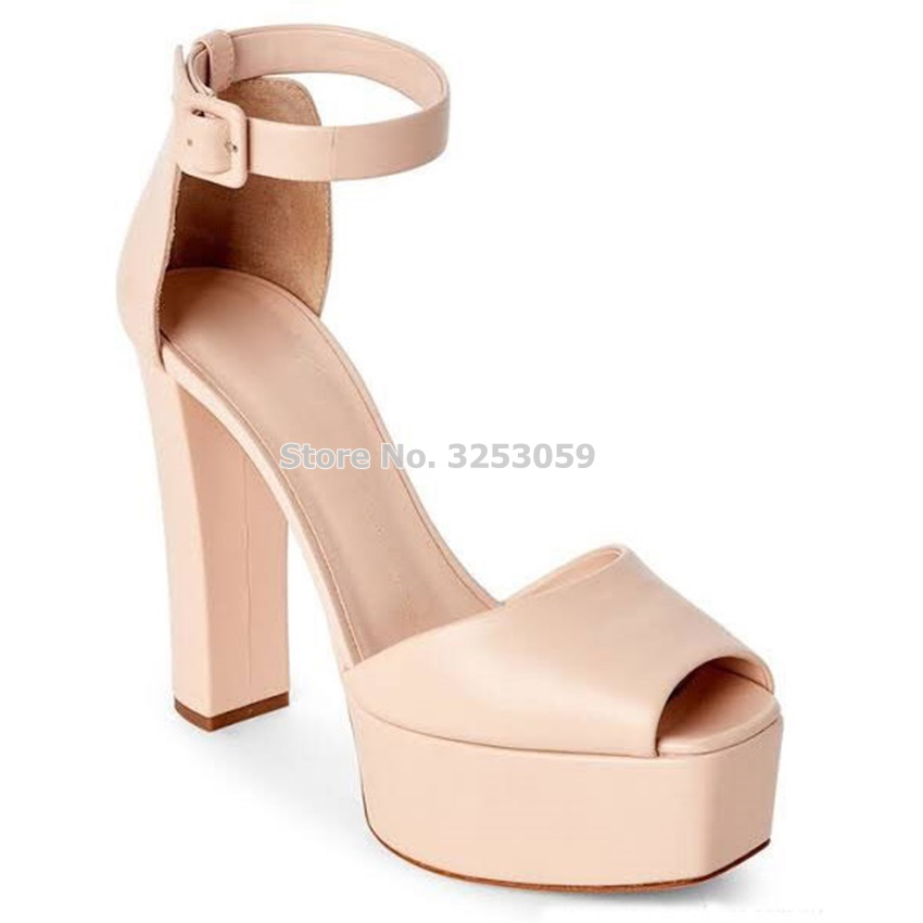 ALMUDENA New Arrived Color Nude Matte Chunky Heels Sandal Shoes High Platform Buckle Strap Gold Silver Banquet Shoes Pumps