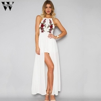 New Summer Loose Maxi Long Dress Women 2017 Casual Rose Embroidery Strap Sleeveless Dress Ladies Party