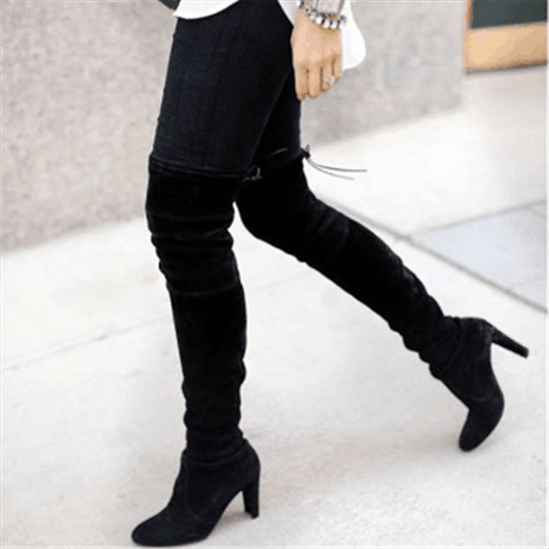 HEFLASHOR Mode Vrouwen Dij Hoge Laarzen Suède Hoge Hakken Lace up Vrouwelijke Over De Knie Laarzen Plus Size Schoenen 2019