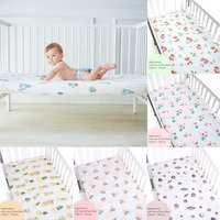 100% Cotton Crib Fitted Sheet Soft Baby Bed Mattress Cover Protector Cartoon Newborn Bedding For Cot Infant linens 130cm*70cm