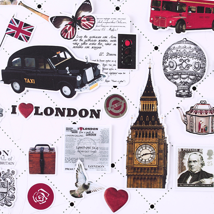 64pcs Creative Cute Self-made London Old Things Scrapbooking Stickers /decorative Sticker /DIY Craft Photo Albums  Waterproof