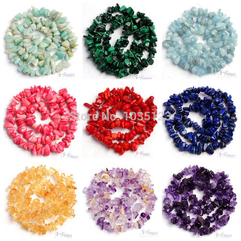 "Free Shipping 5-8mm Natural 18 Type Material Stone Freeform Gravel DIY Gems Loose Beads Strand 16"" Jewellery Making wj69"