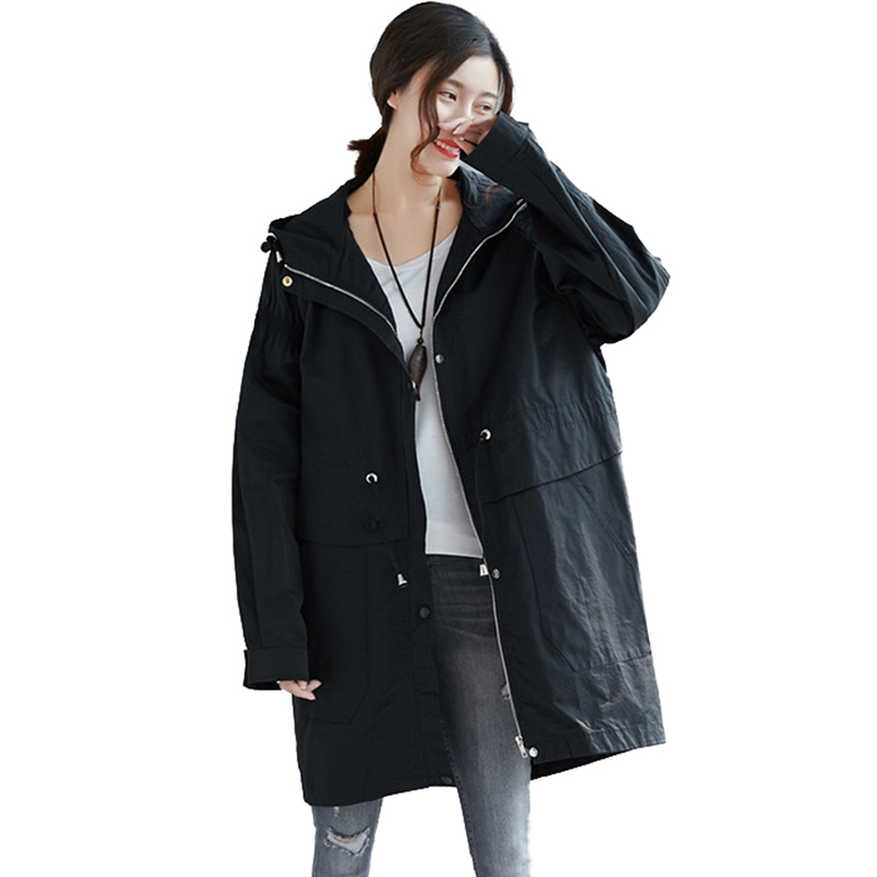 Oversized   Trench   Coat Women 2019 Spring Hooded Windbreaker Coats Students Casual Tops Plus size 5XL   Trench   150kg can wear A2840