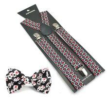 2016 Women Men Unisex 17 Colors Mix Suspender and Bowtie Set Y-Shape Piano Poker Office Casual Bowtie Set Aliexpress hot sale