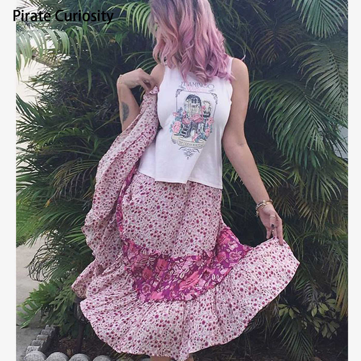33a962102f54 Pirate Curiosity Rayon Winona Colorful Print Floral Skirts For Women Summer Midi  Skirt Vintage Bohemian Beach