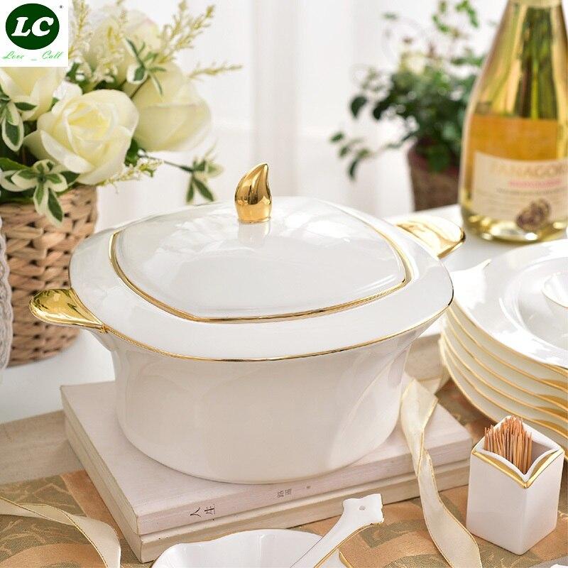 Набор посуды 48 шт. ceram белый и золотой фарфор с супом чаши/тарелки/блюда костяного фарфора набор посуды
