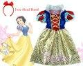 Vestido blanco como la nieve para la fiesta de halloween vestido de traje de los muchachos vestidos infantil de festa meninas Blancanieve fantasia de princesa