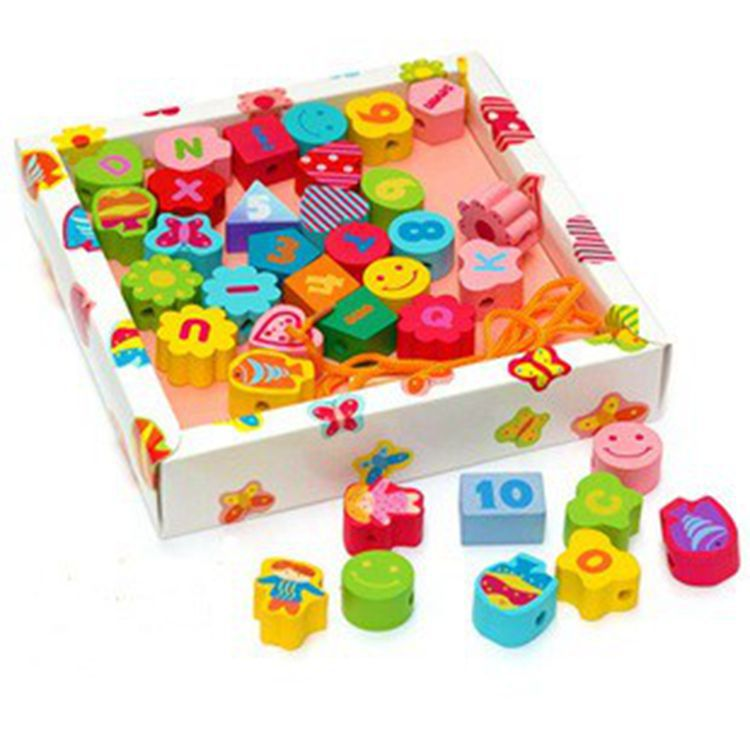 Children s wooden font b toys b font garden beaded alphanumeric color blocks threading Math font