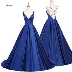 Azul real sexy cetim vestido de noite 2019 longo a linha vestidos de baile de noite vestidos de festa vestido de noite aberto voltar robe de soiree