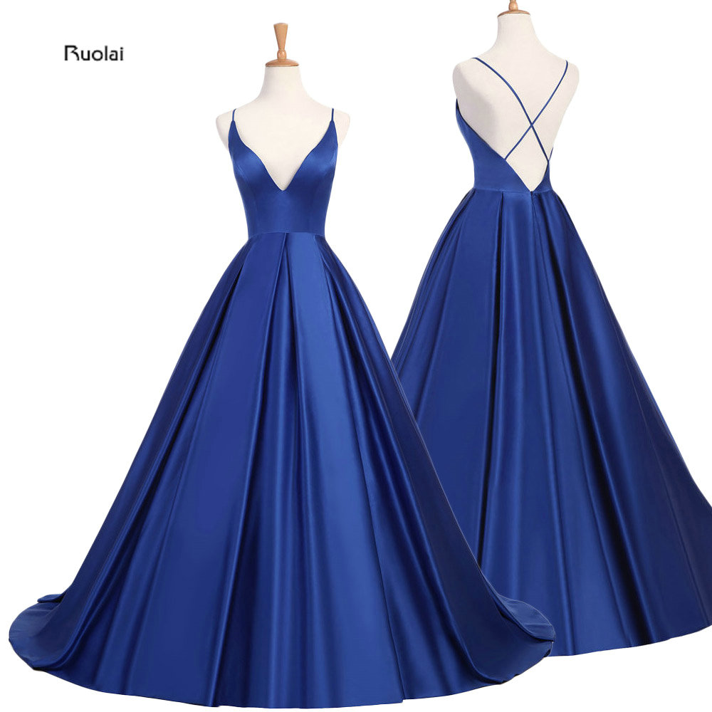 Royal Blue Sexy Satin Evening Dresses 2018  Long A line Prom Dresses Evening Party Dresses Evening Gown Open Back Robe De Soiree sexy see through long sleeve handmade rose flower evening dresses for pregnant women ruffles long party arabic robe de soiree