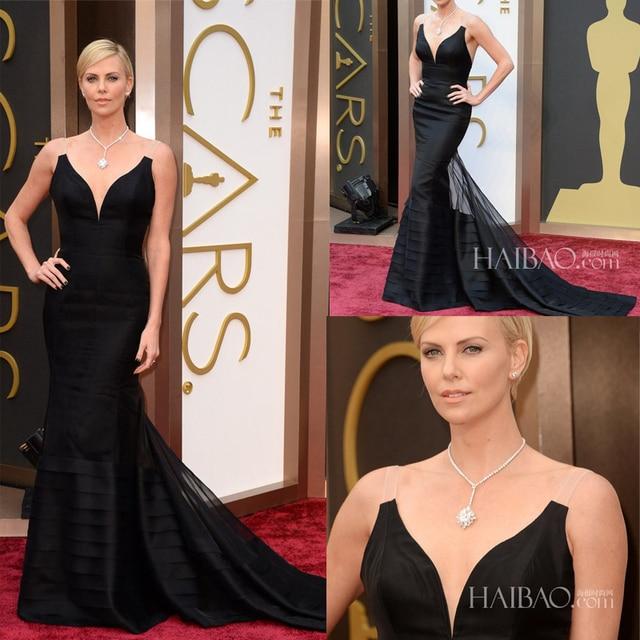 Charlize Theron V profundo cuello en Color negro Tiers Mermiad tribunal tren Celebrity Dresses 2014 Oscar premios