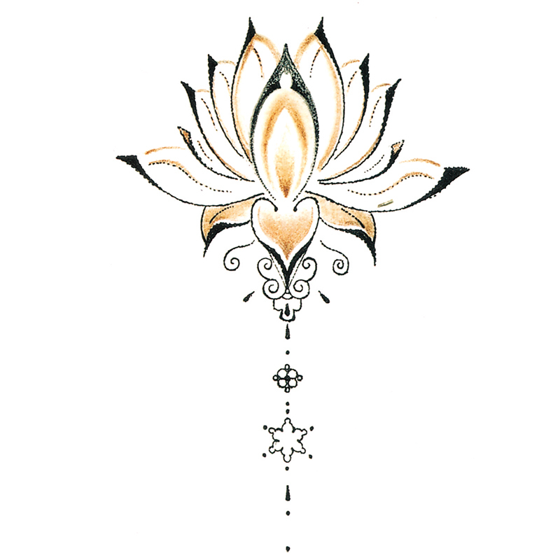 Waterdichte Tijdelijke Tattoo Stickers Leuke Boeddha Lotus Bloemen