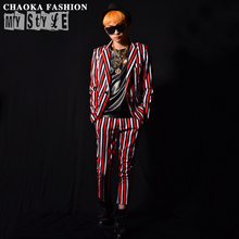 Personality red striped suit sets Men Singers DJDS nightclub bar stage performance suit jacket pant costumes M-2XL free shipping