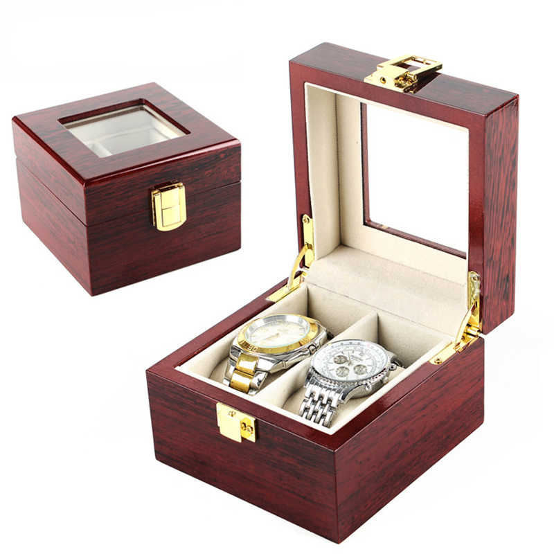 Luxury Watch Boxes MDF Wristwatch Packaging Box Rectangle Storage Boxes for Swiss Expensive Watch Display Collection Red 2Grids