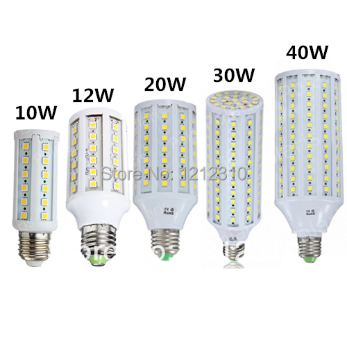 Feee ship E27 220V Led Corn Light 5050 SMD E27 LED Lamp 10W 12W 20W 30W 40W LED Corn Lights led bulb 44 60 86 132 165 SMD