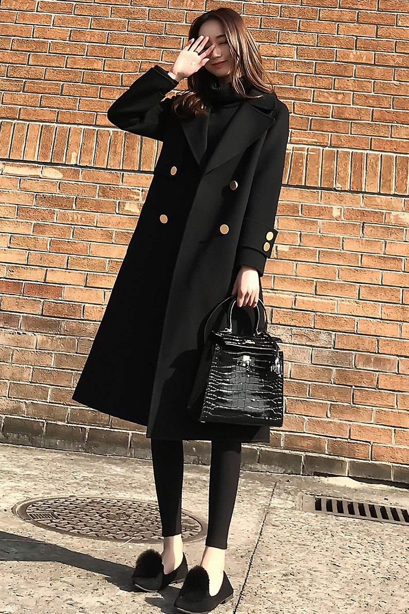 Section Femelle Longue Automne Laine Mince La Version De Manteau Mme D'hiver Mode Black Lâche Et Coréenne Femmes 2018 Noir Nouvelle FqwO1Zx