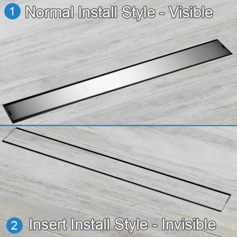Qualité 60 cm couvercle de Drain de sol résistant aux odeurs Rectangle SUS304 en acier inoxydable Drain/égouttoir de sol de douche - 3