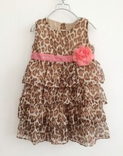Fashion 2017 New Girl Kids Baby Sleeveless Leopard Flower Cake Dress Clothes Summer Outfits Dress Party Gift Party Cute Dresses