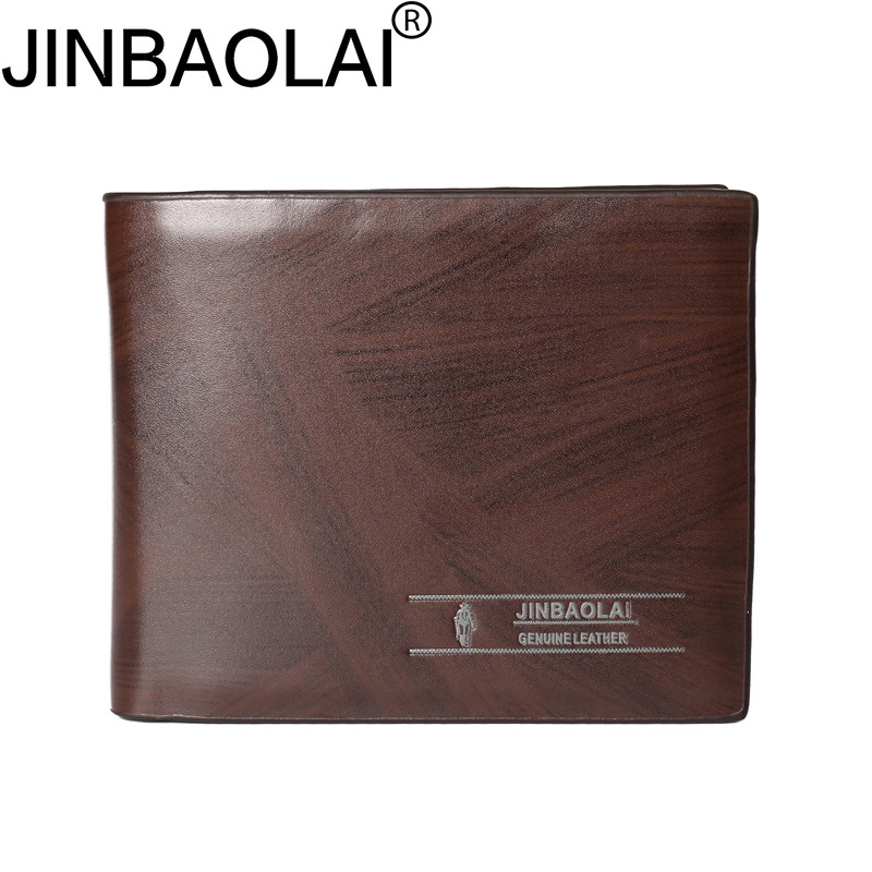JINBAOLAI  Leather Men Luxury Wallets Short Coin Purse Clutch Bags Brown Card Holder Dollar Price Male Brown Wallet Erkek Cuzdan flying birds 2016 wallet leather purse dollar price men bags wallets card holder coin purses short wallet men s bag lm3421fb