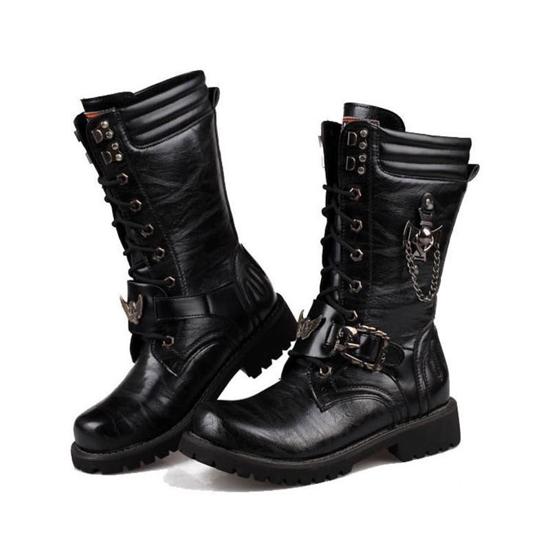 Long Barrel High-top Martin Military Boots Men Shoes Leather Men Boots Men Brand Fur Boots Autumn And Winter Shoes Size 37-45 winter martin military boots men shoes leather men boots brand fur boots for men autumn winter shoes zapatos hombre size 38 48