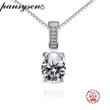 PANSYSEN 2019 New Fashion AAAA Cubic Zirconia Drop Pendant Necklaces Real Silver 925 Jewelry Diamond Necklace Women Gift