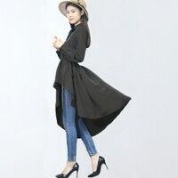 2016 Summer Autumn Women Plus Size Cotton Asmmetrical Draped Swallow Tail Shirt Dress White Black 4Items