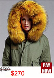 Factory wholesale price Women's Vintage Retro Fur Hooded Military Parka Jacket Coat with pink lined and collar fur mr 20