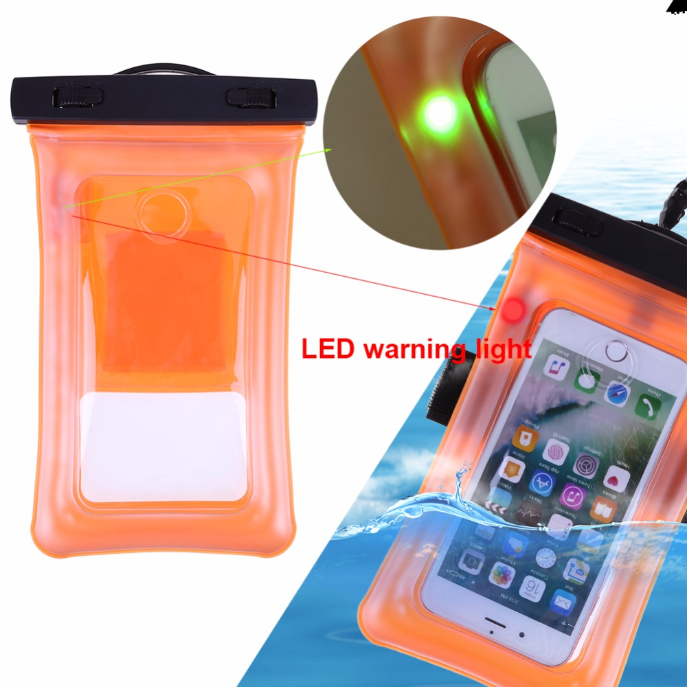 Waterproof Pouch With Flashing Alarm LED For <font><b>Water</b></font> <font><b>Proof</b></font> Diving <font><b>Bag</b></font> Outdoor Phone Case Underwater Phone With Neck Strap image