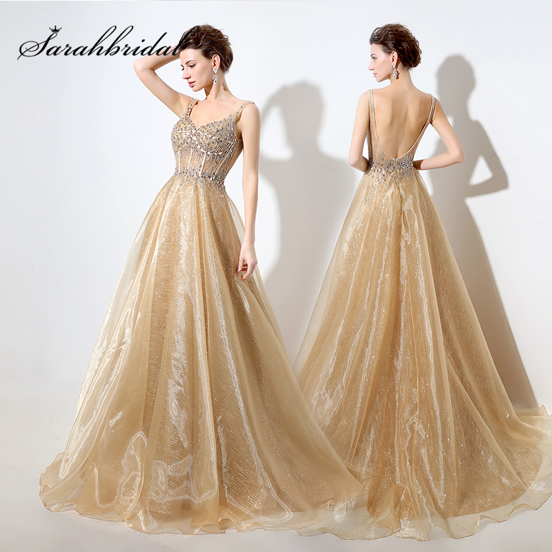 Shining Gold Sequin Long Celebrity Dresses 2019 Sexy Backless Luxury Beading Organza Prom Gown Gorgeous Gala Party Dress OL044 in Celebrity Inspired Dresses from Weddings Events