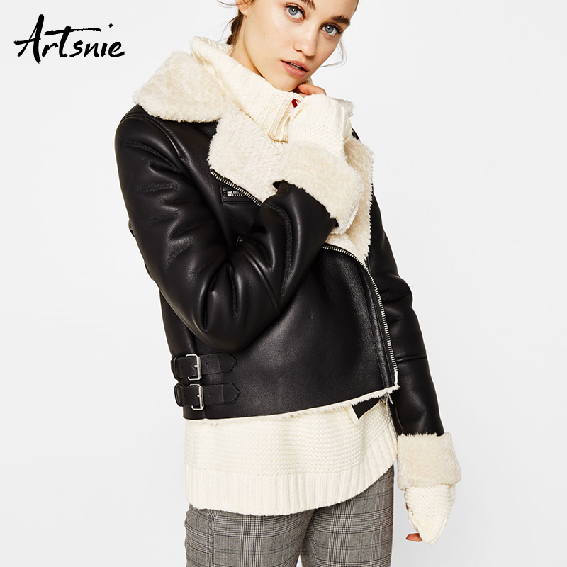 Artsnie Black Casual Faux   Leather   Jackets Women Autumn 2018 Streetwear Motorcycle Biker Jacket Girls Winter Wool Chaquetas Mujer