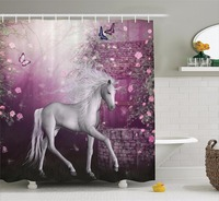 High Quality Arts Shower Curtains Unicorn in Rose Garden Butterflies Bathroom Decorative Modern Waterproof Moldproof Curtains
