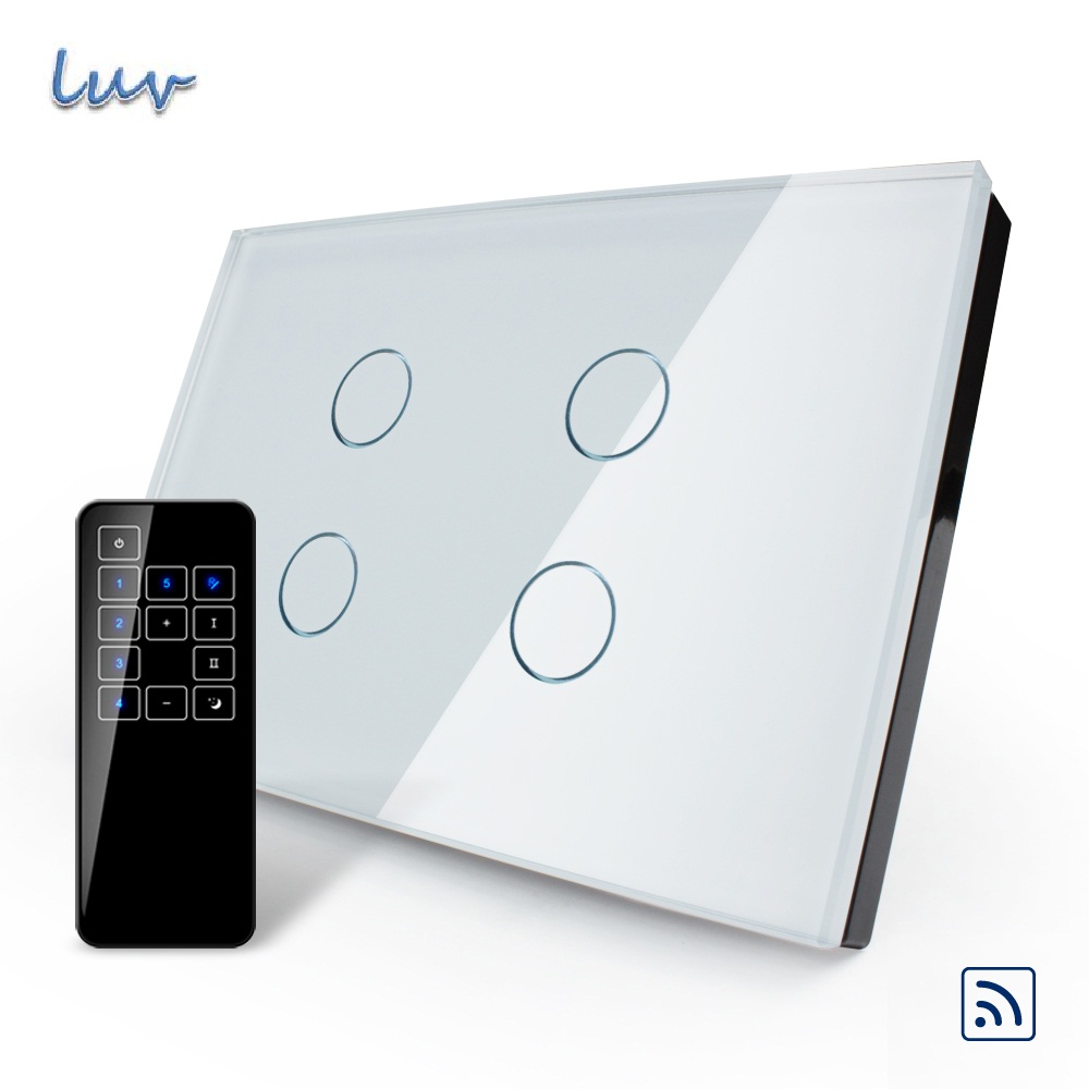 ValueBox, US/AU Standard, Touch Switch, VL-C304R-81VL-RMT-03,Crystal Waterproof Glass Touch Screen Light Switch& Touch Remote us au standard wireless switch vl c303r 81 crystal waterproof glass remote 433 92hz touch screen light switch led indicator