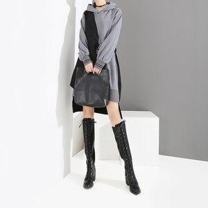 Image 3 - Nouveau 2019 Style coréen femmes automne hiver noir Patchwork à capuche Mini robe et ceintures à manches longues dame élégant tenue décontractée 7204