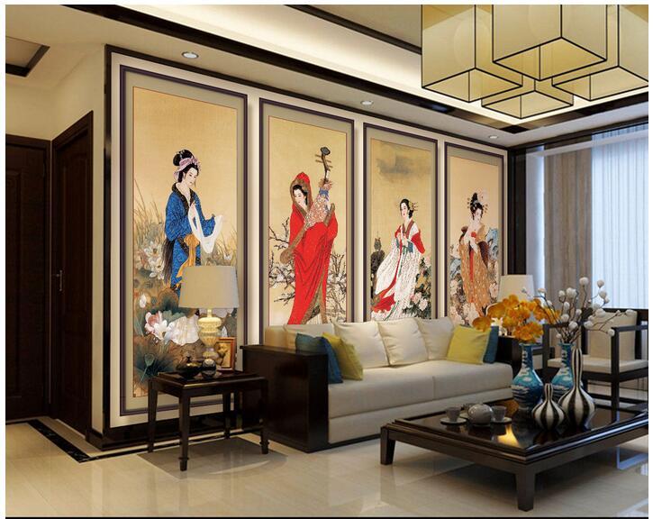 edef2dfd9 العرف صور 3d خلفيات غير المنسوجة جدارية الجدار ملصق الكلاسيكية أربع نساء  كبيرة جميلة اللوحة 3d الجداريات جدار غرفة خلفيات