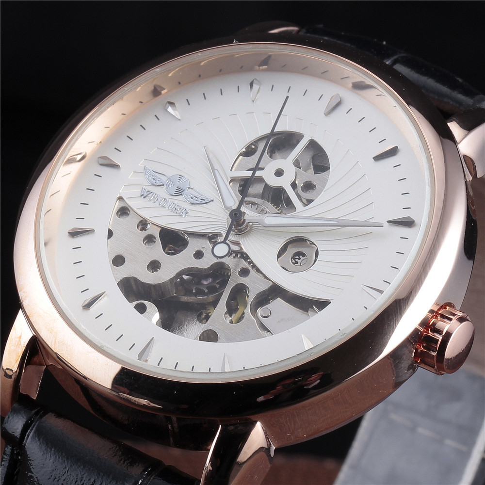 WINNER Men's Fashion Mechanical Watch Rose Gold Case Skeleton Dial Black Leather Band Military Automatic Watch Men t winner fashion women girl skeleton dial handind mechanical watch watches pu leather band wristwatches gift free ship