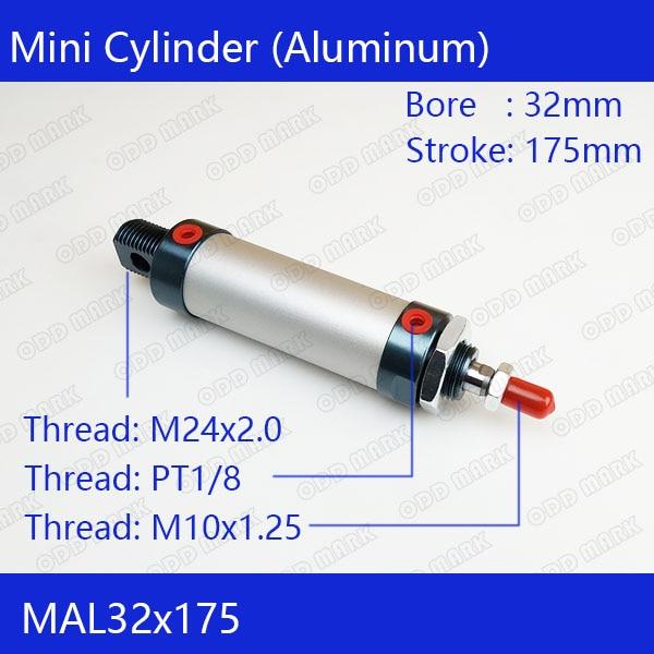Free shipping barrel 32mm Bore 175mm Stroke MAL32x175 Aluminum alloy mini cylinder Pneumatic Air Cylinder MAL32-175 все цены