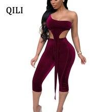QILI One Shoulder Sexy Jumpsuit Women Rompers New Autumn Velvet Two Piece Set Calf-Length Pants Jumpsuits Club Bodycon Jumpsuit цена