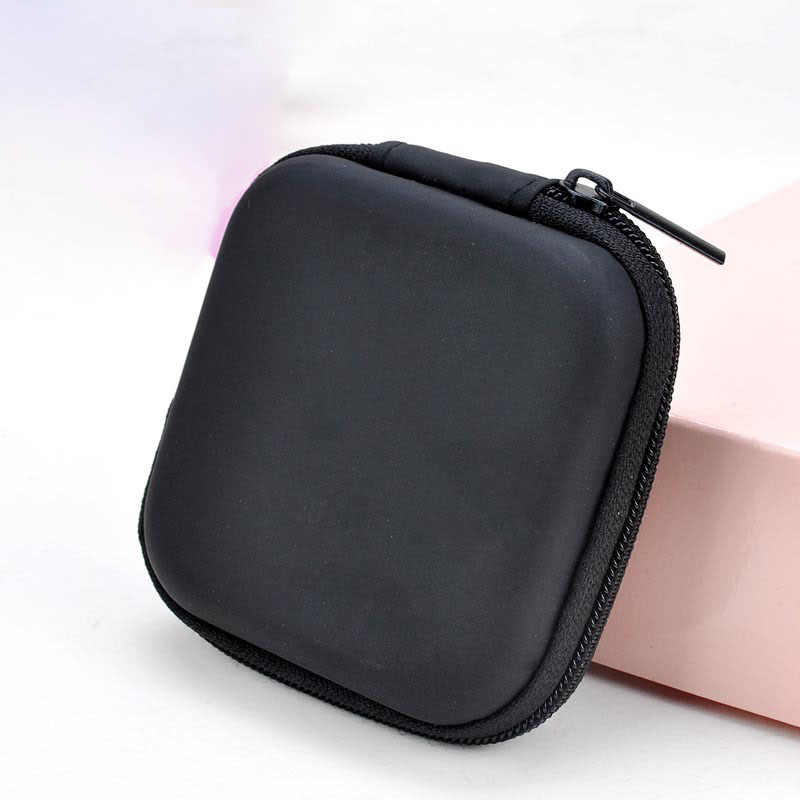 Square Headset Bag Headphone Earbud Storage Pouch EVA Hard Case Box for Earphone Organizer Purse Gifts Small Mini Coin Key Bags